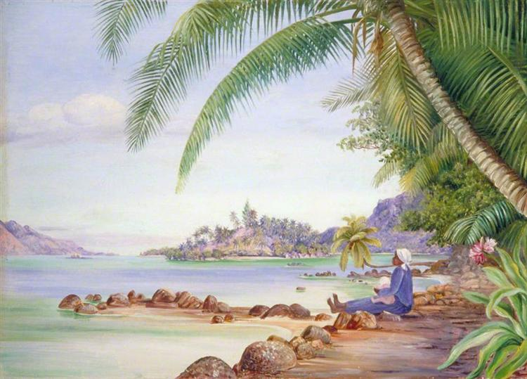 View of Round Island and a Part of St Anne's from Quarantine Island, 1883 - Marianne North