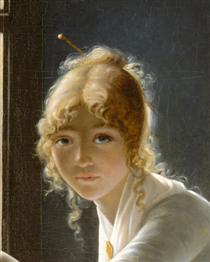 Young Woman Drawing (detail) - Marie-Denise Villers
