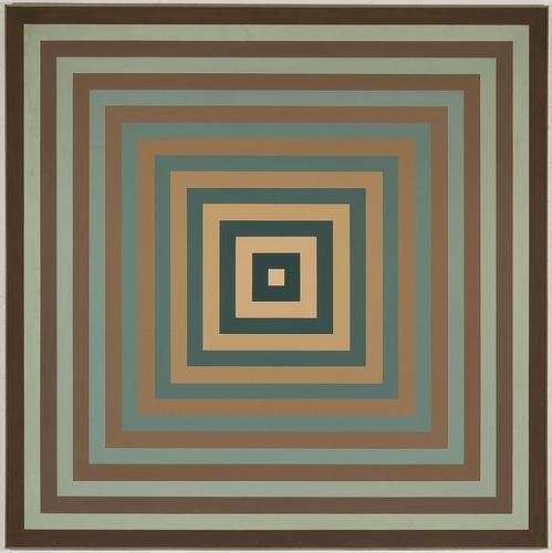 Compenetrazione quadrangolare di due ordini di chiarezze di tonalità nm 498 ca. (blu) e 587 ca. (ocra), 1972 - Mario Ballocco