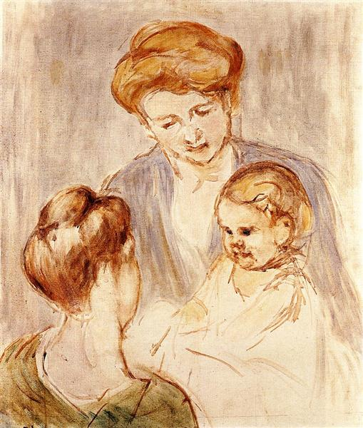 A Baby Smiling at Two Young Women, 1873 - Mary Cassatt