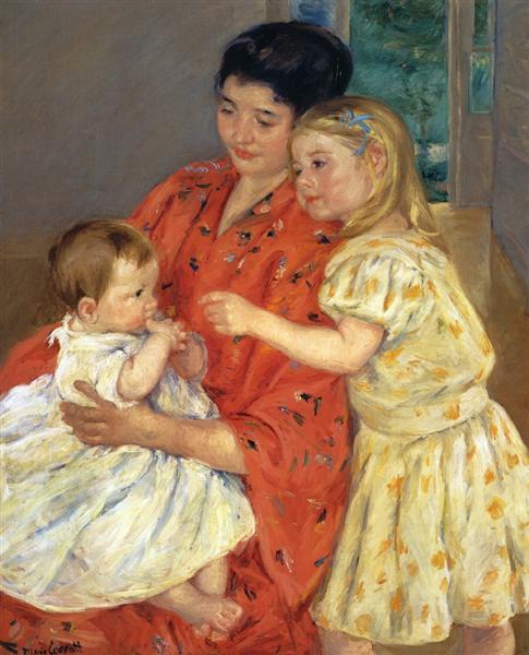 Mother and Sara Admiring the Baby, 1901 - Mary Cassatt