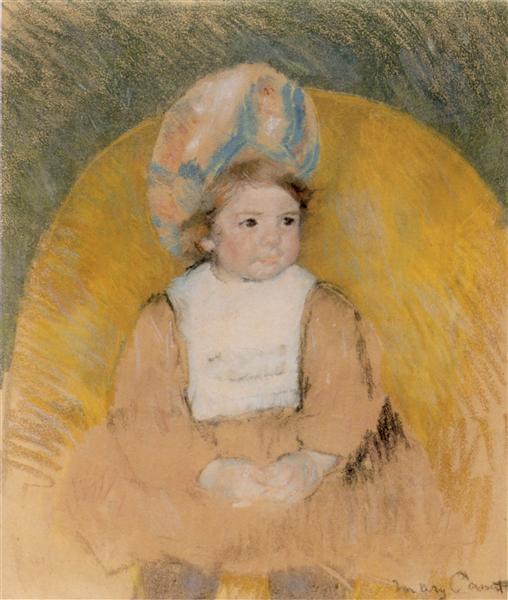 Девочка сидит в желтом кресле, c.1902 - Мэри Кассат