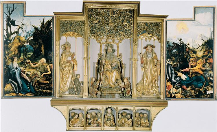 The second view of the altar. St Anthony Visiting St Paul the Hermit in the Desert (left), The Temptation of St. Anthony (right). Central part are carved figures of St. August, St. Anthony, St. Jerome; bottom part Jesus with 12 Apostles., 1510 - 1515 - Matthias Grünewald