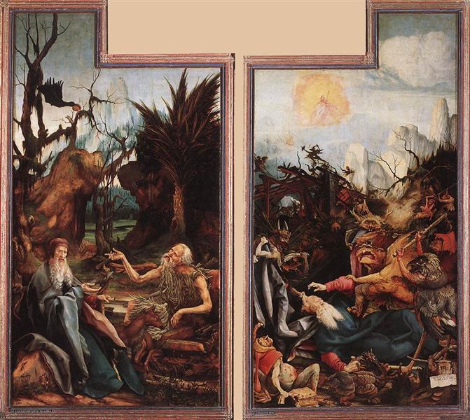 Visit of St. Anthony to St. Paul and Temptation of St. Anthony, c.1515 - Matthias Grünewald