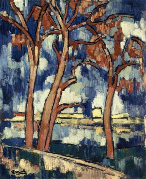 Landscape with Red Trees Chatou, 1907 - Maurice de Vlaminck