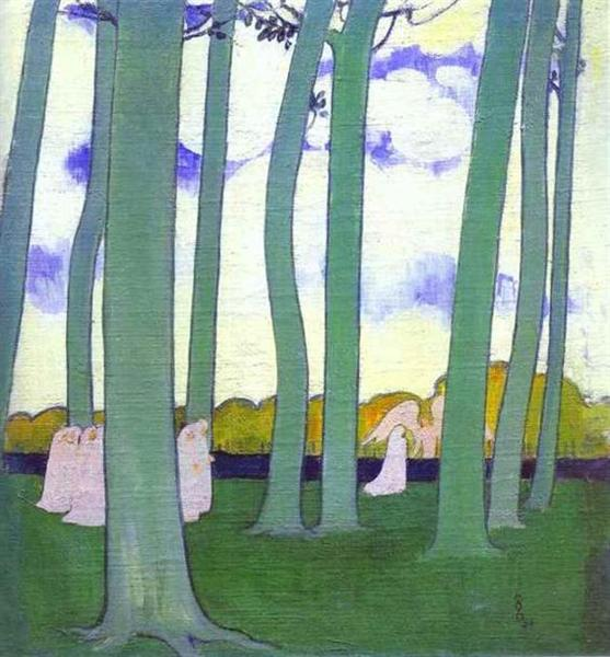 Landscape with Green Trees or Beech Trees in Kerduel - Maurice Denis
