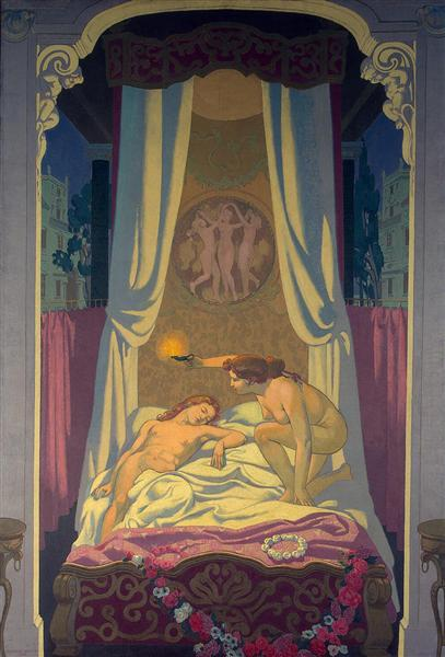 Panel 3. Psyche Discovers that Her Mysterious Lover is Eros, 1908 - Maurice Denis