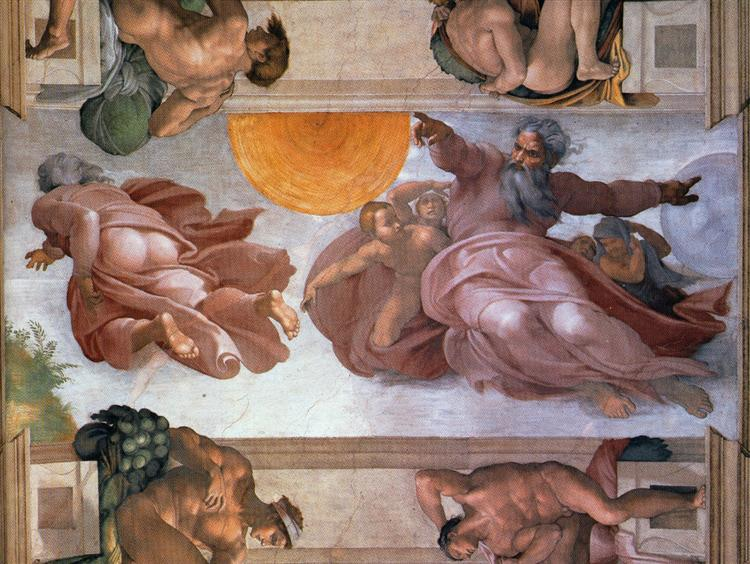 Sistine Chapel Ceiling: Creation of the Sun and Moon, 1508 - 1512 - Michelangelo