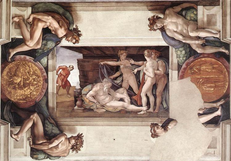 Sistine Chapel Ceiling: Drunkenness of Noah, 1509 - Michelangelo