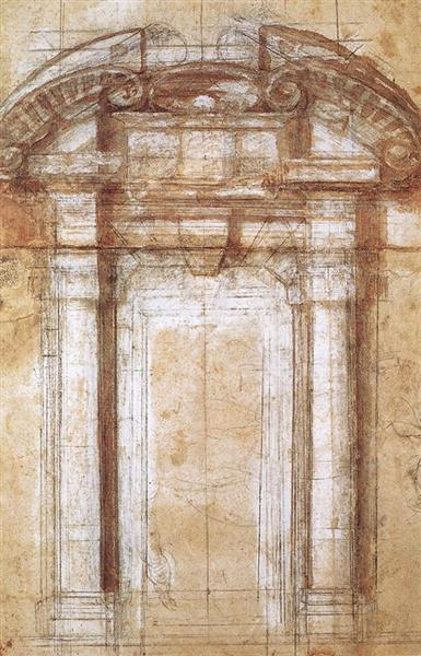 Study for the Porta Pia (a gate in the Aurelian Walls of Rome), 1561 - Michelangelo