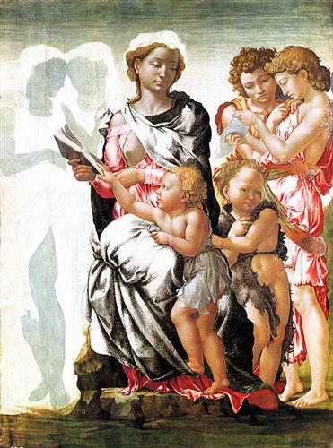 The Virgin and Child with Saint John and Angels (Manchester Madonna) - Michelangelo
