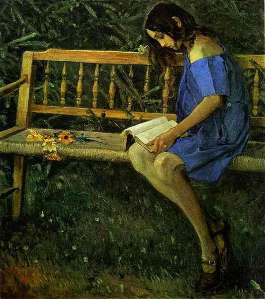 Portrait of Natasha Nesterova (On a Garden Bench), 1914 - Mikhail Nesterov