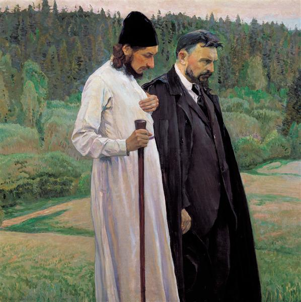 The Philosophers: Portrait of Sergei Bulgakov and Pavel Florenskiy, 1917 - Mijaíl Nésterov