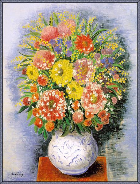 Bouquet of various flowers and mimosa - Moise Kisling