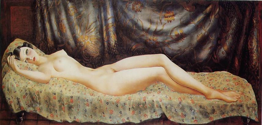 Genre: nude painting (nu). Technique: oil. Material: canvas