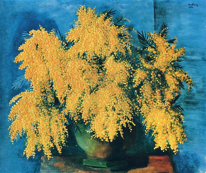 Vase of mimosa, 1952 - Moise Kisling