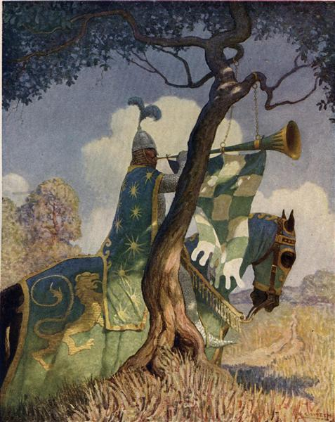 The green knight preparing to battle Sir Beaumains - N.C. Wyeth