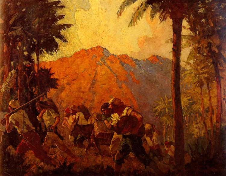 Painting of Orange Mountain, Palm Trees, People