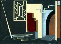 Library in the House of da Silva (set design for Uriel Acosta) - Nathan Altman