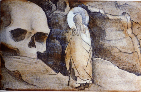 Issa and giant's head, 1932 - Nicholas Roerich