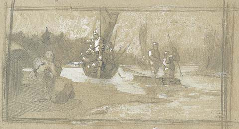 Sketch of scene from Varangian life, 1890