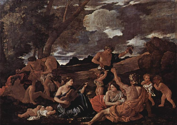 Andrians or The Great Bacchanal with Woman Playing a Lute, 1628 - Nicolas Poussin
