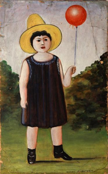 Little girl in a blue dress - Niko Pirosmani
