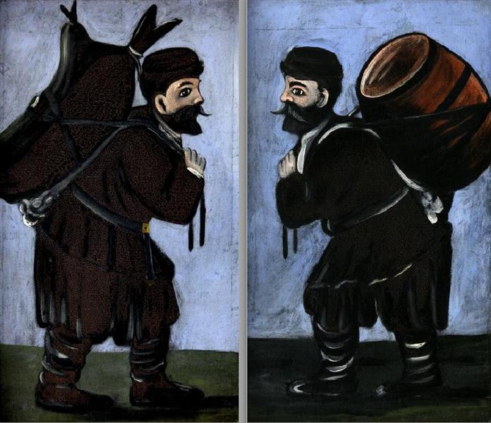 Workers with a barrel (diptych) - Niko Pirosmani