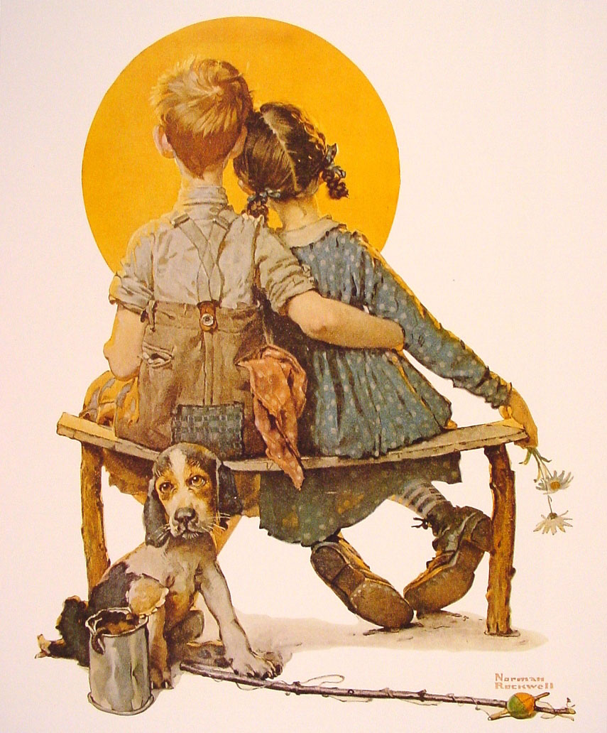 Boy And Girl Gazing At The Moon 1926 Norman Rockwell