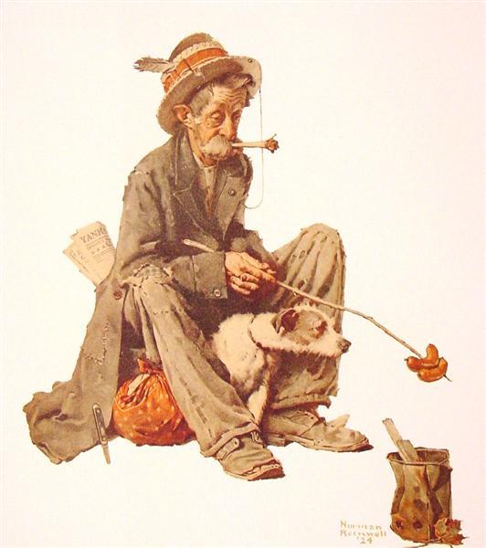 Hobo and Dog, 1924 - Norman Rockwell