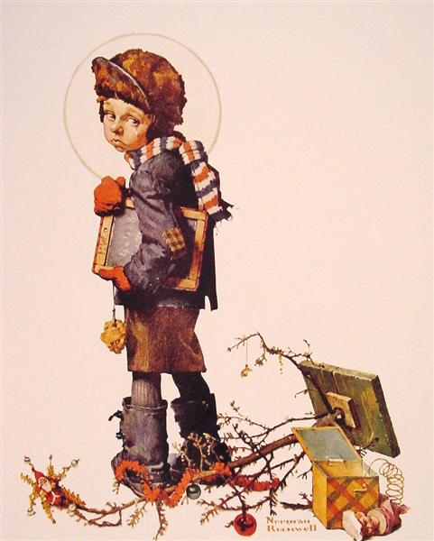 Little Boy holding Chalk Board, 1927 - Norman Rockwell