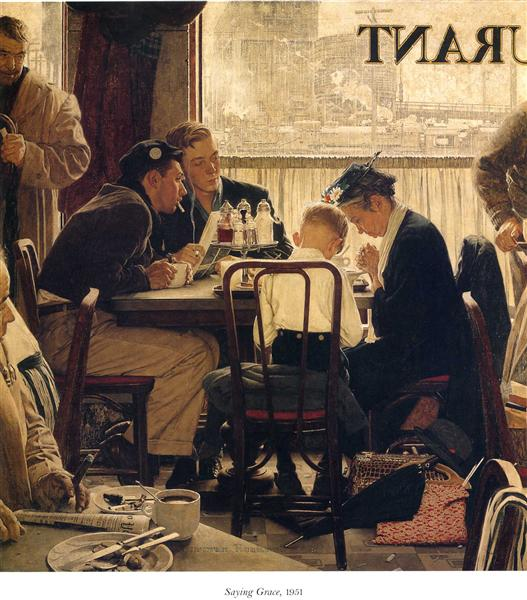 Saying Grace, 1951 - Norman Rockwell