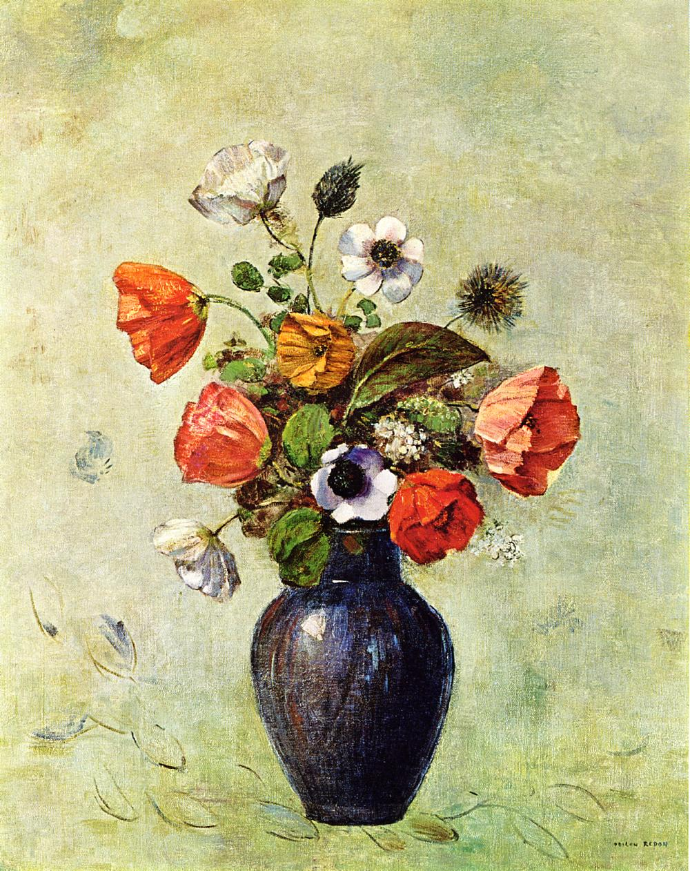 Anemones And Poppies In A Vase Odilon Redon Wikiart Org