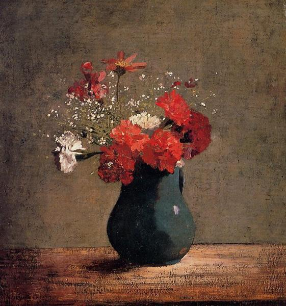 Carnations and baby's breath in a green pitcher - Odilon Redon