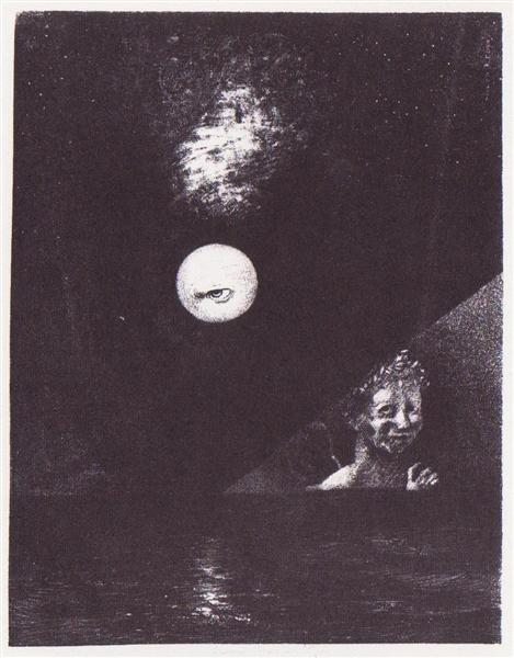 On the Horizon, the Angel of Certitude, and in the Dark Sky, A Questioning Glance, 1882 - Odilon Redon
