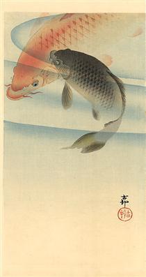 Two koi carps - Ohara Koson
