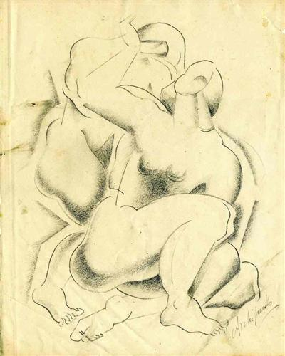 Two nude female figures - Olexandr Archipenko