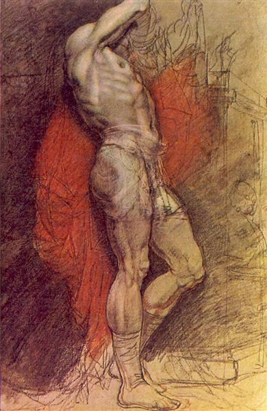 Standing sitter on the background of red drapery, 1802 - Orest Kiprensky