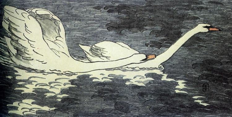 Farbiger Holzschnitt Zwei Schwäne, 1902 - Otto Eckmann