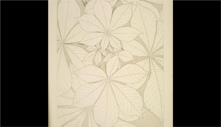 Leaves and Flowers from Nature Ornament no. 1. Horse-chestnut leaves, full size - Owen Jones