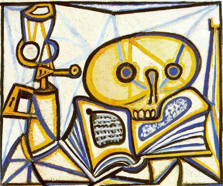 Crane, book and oil lamp, 1946 - Pablo Picasso