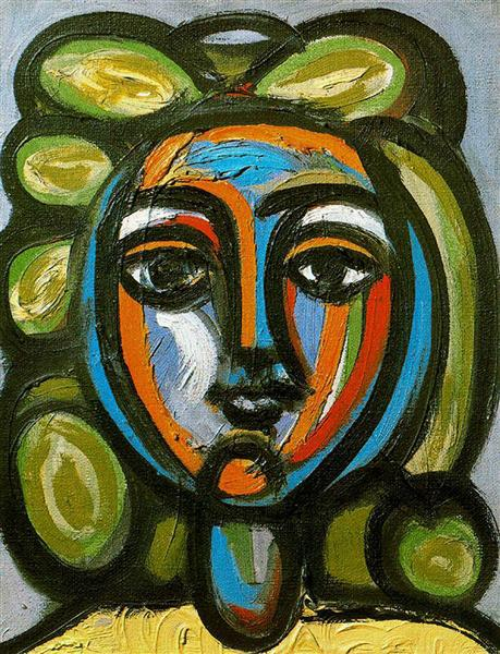 Head of a woman with green curls, 1946 - Pablo Picasso