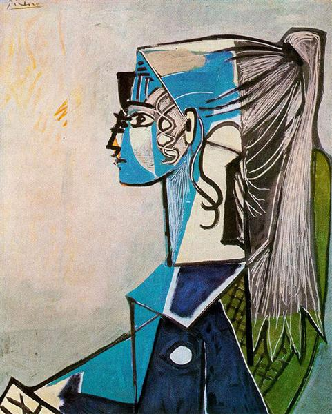 Portrait of Sylvette David in green chair, 1954 - Pablo Picasso