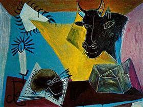 Still life with a bull's head, book and candle range - Pablo Picasso