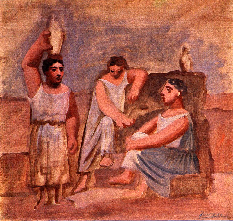 Three women at a fountain (study), 1921