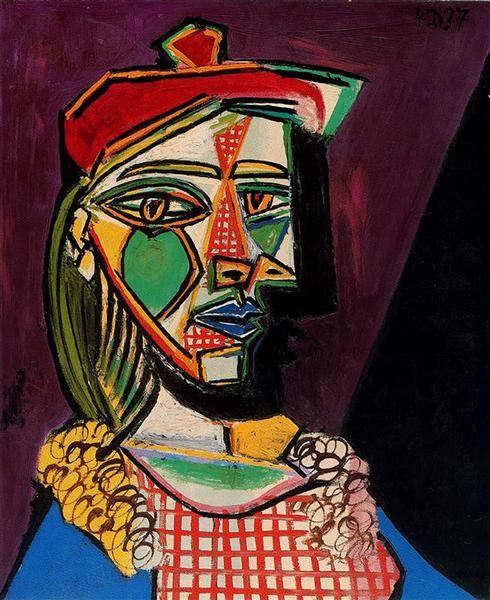 Woman in beret and checked dress, 1937 - Pablo Picasso