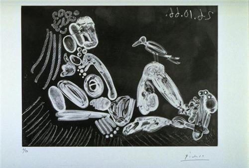 Woman with bird - Pablo Picasso