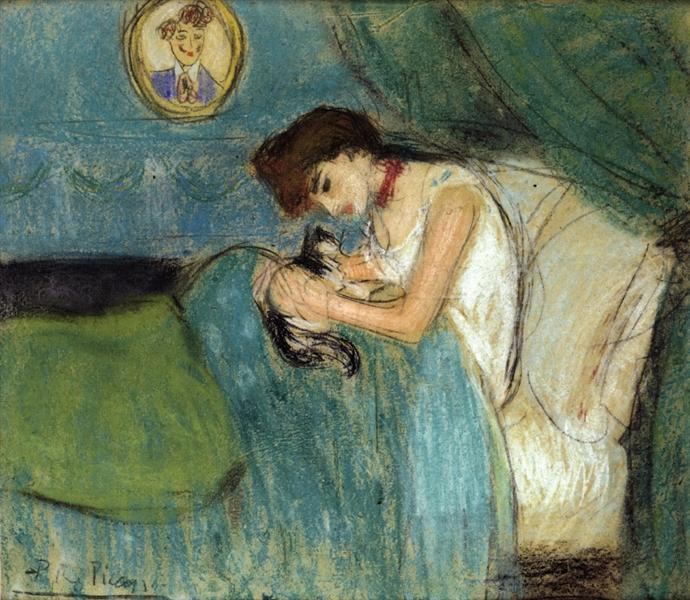Woman with Cat, 1900 - Pablo Picasso
