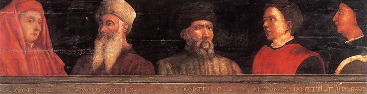 Portraits of Giotto, Uccello, Donatello, Manetti and Bruno, c.1450 - Paolo Uccello