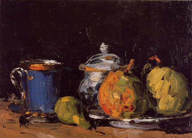 Sugar Bowl, Pears and Blue Cup, c.1866 - Paul Cezanne